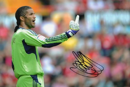 David James, Bournemouth & England, signed 12x8 inch photo.